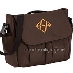 Monogrammed Brown Messenger Style Diaper Bag