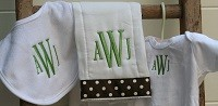 Monogrammed Onesie, Bib and Burp Cloth Set