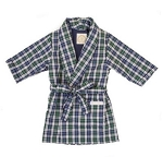 Monogrammed Blue Plaid Child's Robe