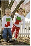 Monogrammed Stocking Applique Child's Shirt