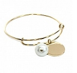 Monogrammed Gold Bangle Bracelet with Pearl