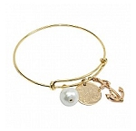 Monogrammed Gold Bracelet with dangle Pearl and Anchor
