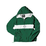 Monogrammed Hunter Green Striped Hooded Windbreaker