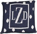 Custom Monogrammed Polka Dot Knitted Pillow