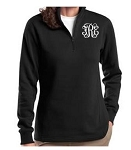Ladies Black Monogrammed Quarter Zip Sweatshirt