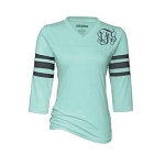 Ladies Monogrammed Mint and Gray Raglan Tee