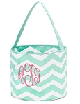 Personalized Mint Chevron Easter Bucket