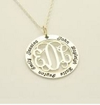 Monogrammed Sterilng Silver Mother's Pendant
