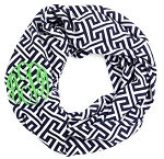 Monogrammed Navy Greek Key Inifinity Scarf