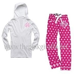 Monogrammed Hot Pink Polka Dot Pajama Set