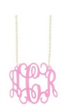 Large Hot Pink Acrylic Monogram Pendant Necklace on Sterling Silver Chain