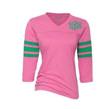 Monogrammed ladies pink and green raglan tee for Pink ladies tee shirts