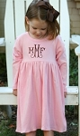 Monogrammed Pink Long Sleeved Empire Waist Dress