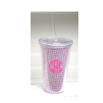 Monogrammed Pink Greek Key Tumbler with Straw QS