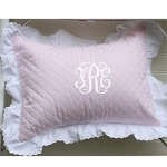 Monogrammed Pink Quilted Baby Boudoir Pillow