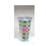 Monogrammed Green Bamboo Design Tumbler with Straw QS