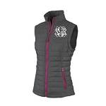 Monogrammed Quilted Gray Puffy Vest