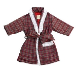 Monogrammed Red Plaid Child's Robe with Ruffle
