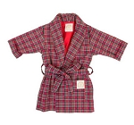 Monogrammed Red Plaid Child's Robe