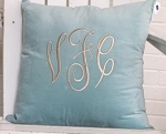 Monogrammed Robin's Egg Velveteen Throw Pillow