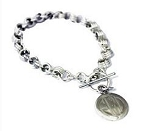 Monogrammed Sterling Silver Roped Bracelet with Toggle