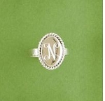 Roped Edge Oval Monogrammed Silver Ring