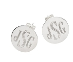 Monogrammed Silver Plated Post Earrings