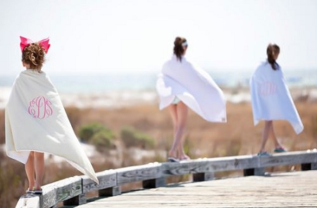 Monogrammed Seersucker Beach Towel
