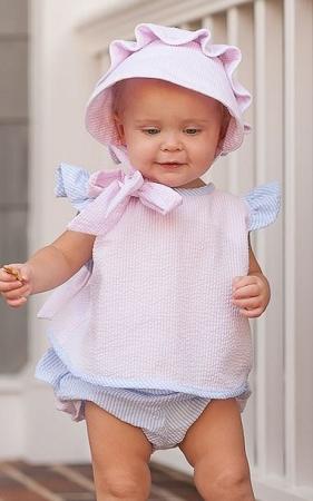 Monogrammed Pink Seersucker Baby Bonnet
