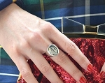 Oval Signet Monogrammed Silver Ring