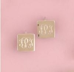 Square Monogrammed Silver Earrings