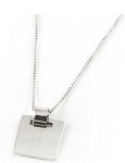 Monogrammed Square Sterling Silver Pendant