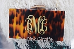 Monogrammed Tortoise Shell Clutch Purse