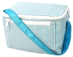 Monogrammed Turquoise Seersucker Rectangle Lunchbox