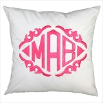 Monogrammed White Throw Pillow