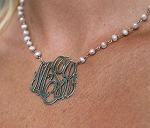 Monograms and Pearls Pendant Necklace