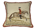 Mounted Cavalry Rider Needlepoint Pillow-Left Side