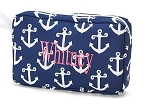Monogrammed Navy Anchor Cosmetic Bag