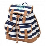 Personalized Navy Stripe Campus-Style Backpack