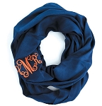 Monogrammed Solid Navy Infinity Scarf