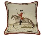 Mounted Cavalry Rider Needlepoint Pillow-Right Side