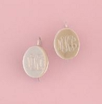 Oval Monogrammed Silver Earrings