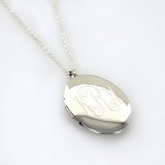 Monogrammed Large Oval Silver-Tone Locket