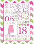 Personalized Baby Girl Birth Annoucement Blanket-Pastel Colors