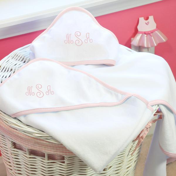 custom monogrammed pink seersucker baby hooded towel set