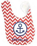 Personalized Preppy Anchor Baby Bib For Boys