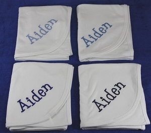 Set of Four Personalized Baby Blankets