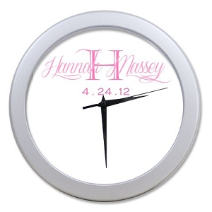 Personalized Baby Girl Clock With Birthdate