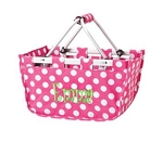 Personalized Mini Market Tote Pink Dots