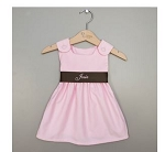Monogrammed Pink Corduroy Dress with Brown Sash